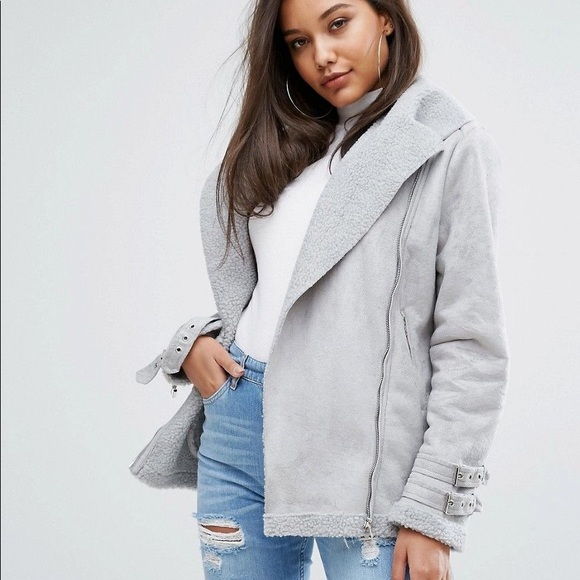 classic chic authentic multiple colors Grey Oversized Faux Suede Aviator Jacket